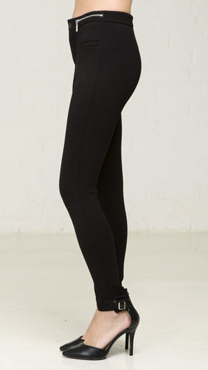 Ponte Pants With Zippered Waist - Black
