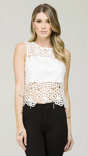 Floral Lace Back Zip Closer Top