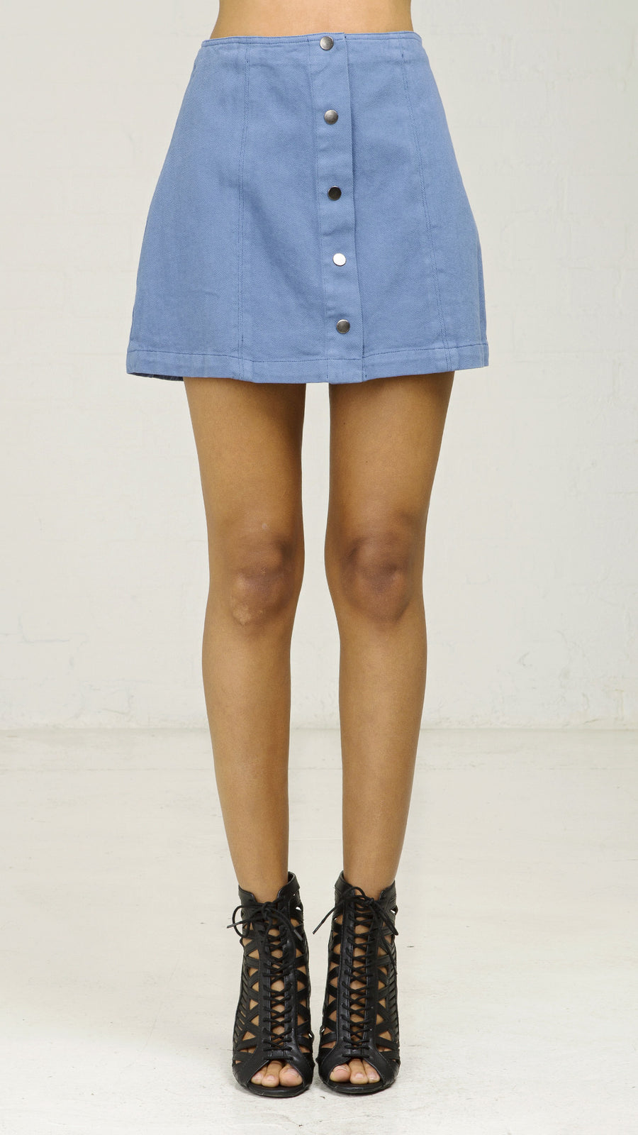 Hipster Denim Button Mini Skirt