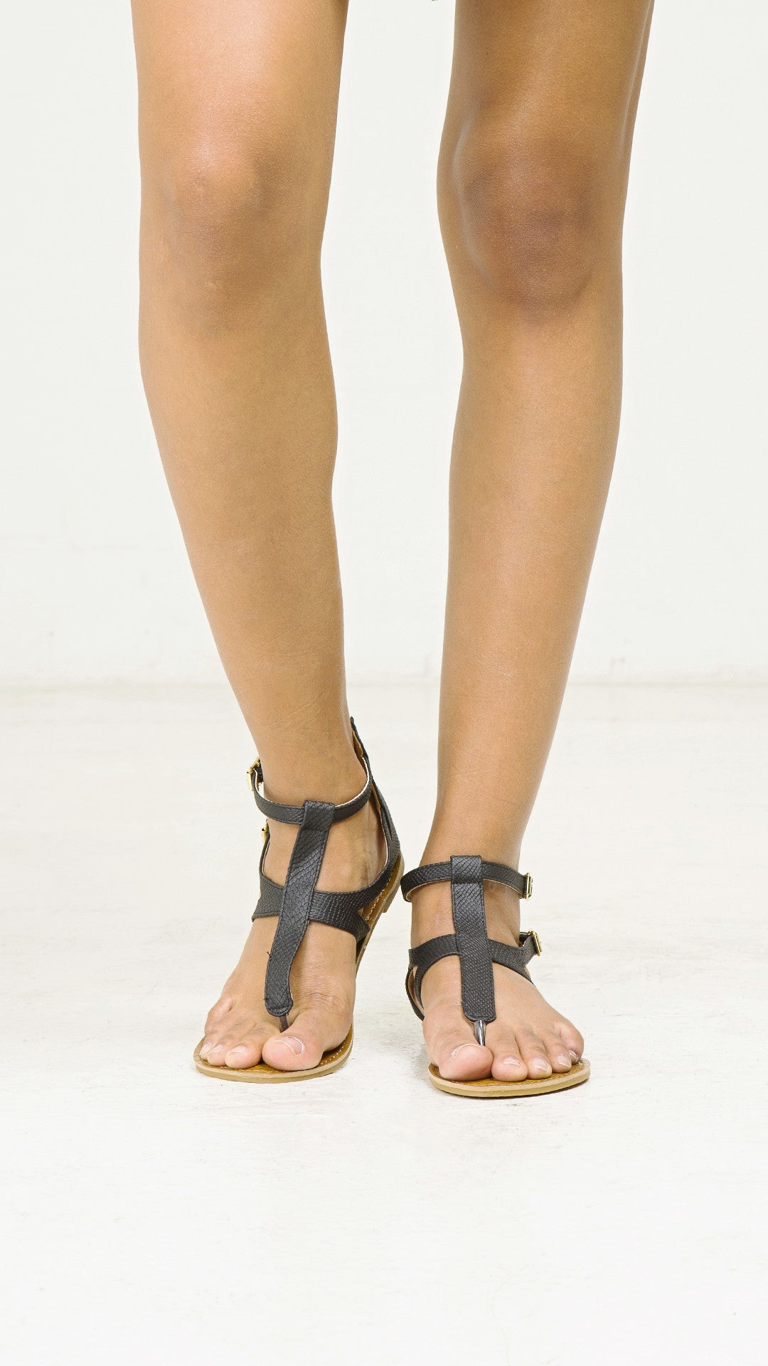fe9182f07072 Snake Skin Double T- Strap Sandals - ANGL