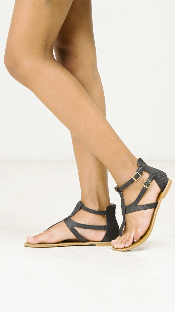 Snake Skin Double T- Strap Sandals