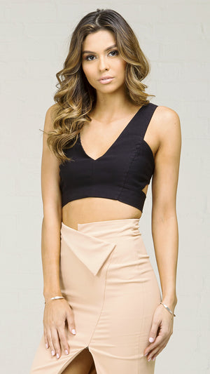 Side Cut Out Crop Tank Top