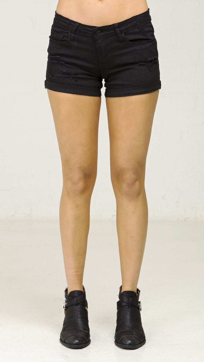 Black Ranger Distressed Cuffed Shorts - Msky