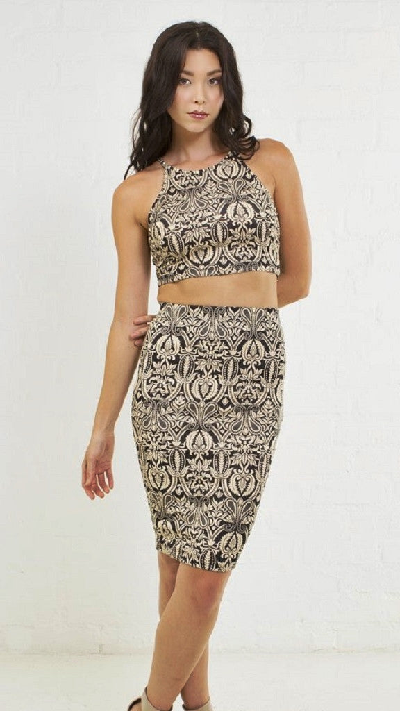 Filigree Wallpaper Crop Cami Top - Msky