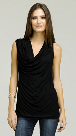 Zipper Shoulder Cowl Front Tank