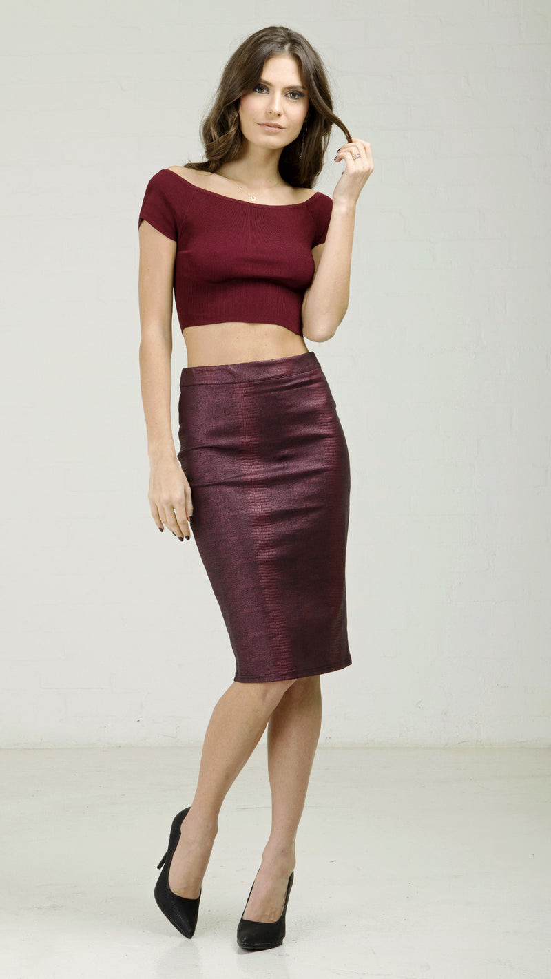 Stretchy Fall Python Pencil Skirt