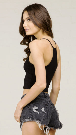 Vertical Ribbed Racerback Crop Tank Top