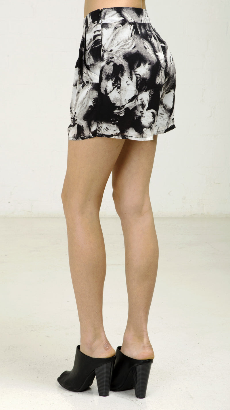 Marble Floral Print Shorts