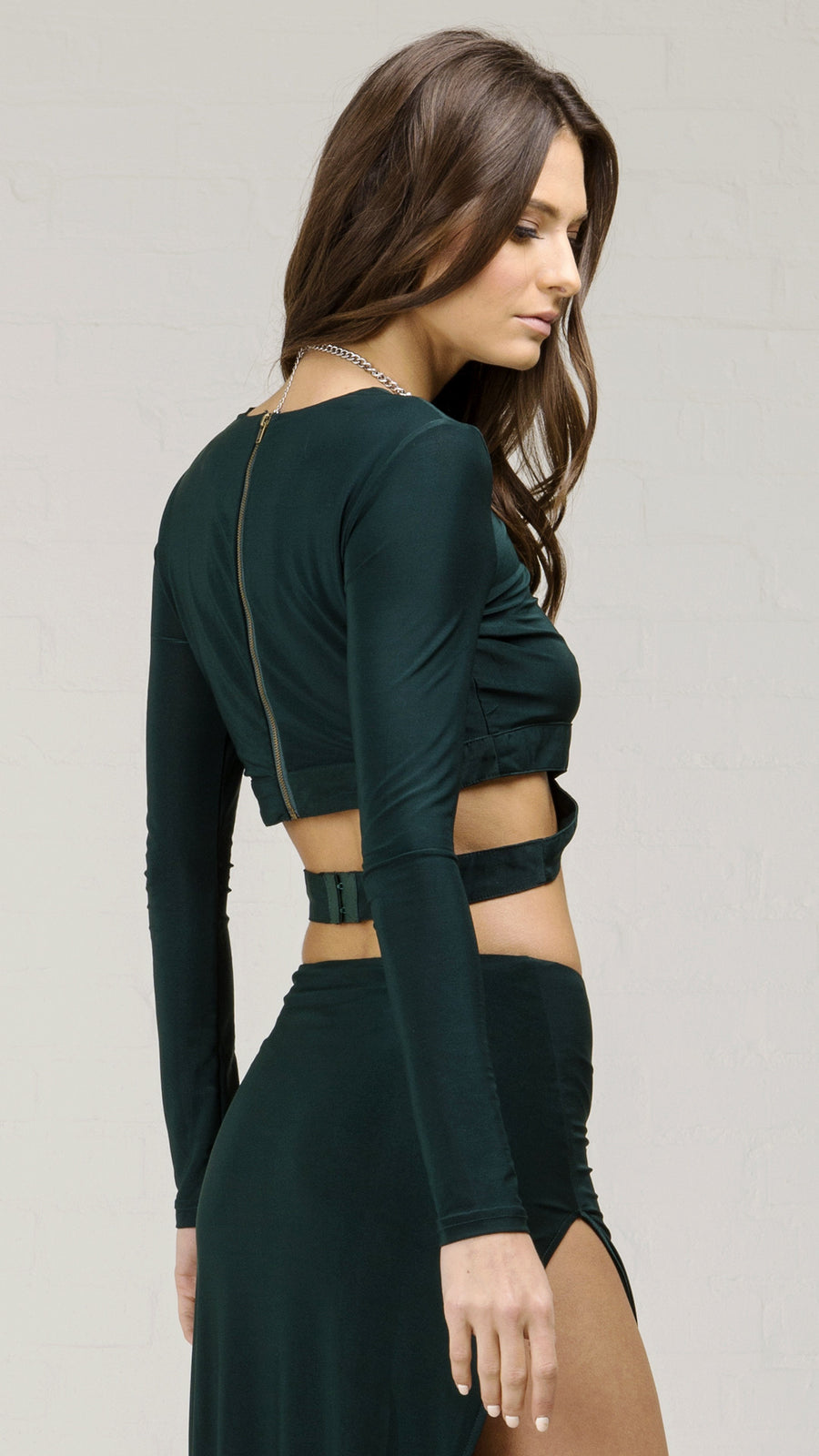 Long Sleeve Wrap Around Waist Crop Top