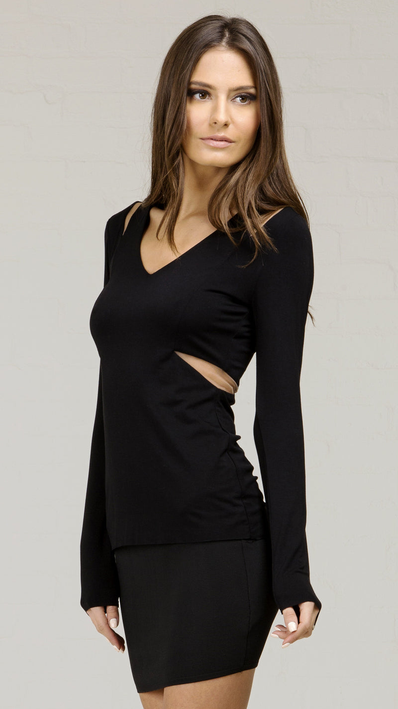 Mesh Cutout Long Sleeve Top
