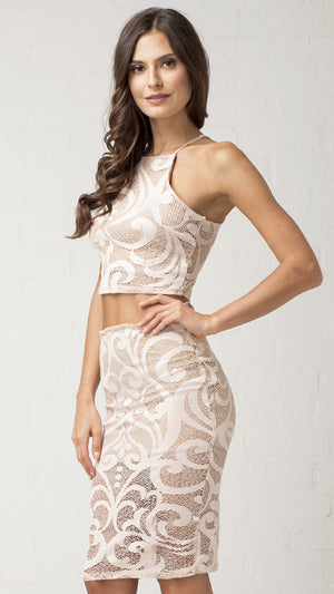 Vine Filigree Lace Crop Top - Nude
