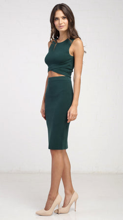 Overlap Knitted Crop Tank Top - Green