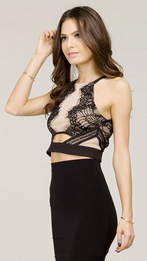 See Through Lace Mesh Crop Top