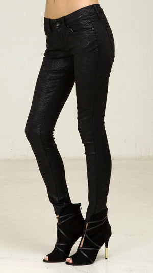 Midnight Python Shiny Skinny Pants
