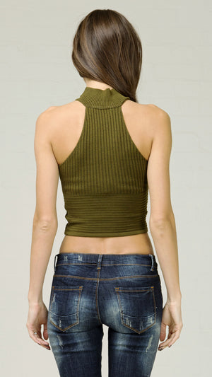 Turtleneck Knitted Crop Top - Olive