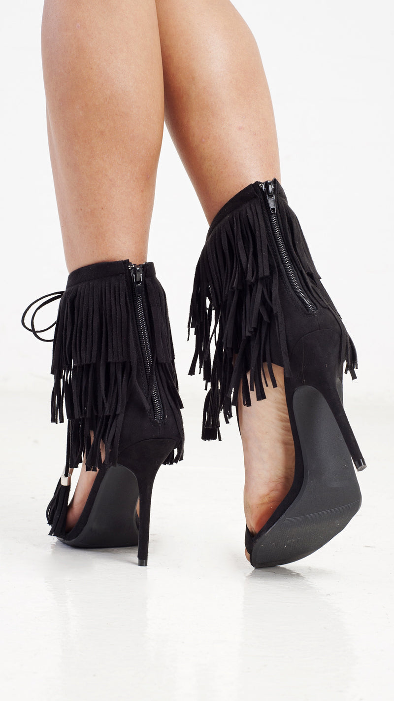 Fringe Me Ladies Night Heels - Black