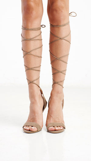 Ankle Wrap Girl Night Out Heel - Taupe - ANGL