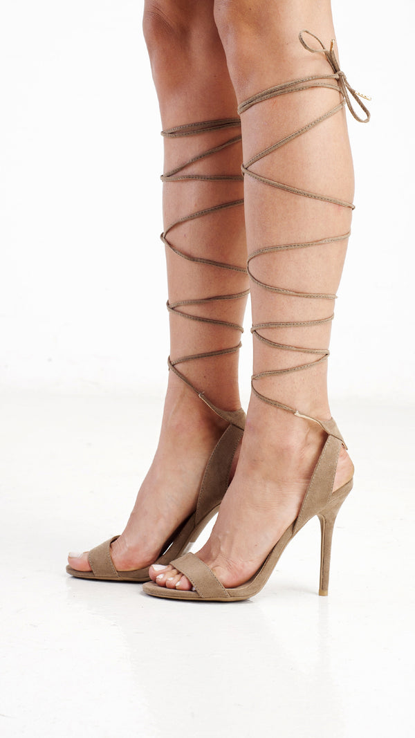 Ankle Wrap Girl Night Out Heel - Taupe - Msky