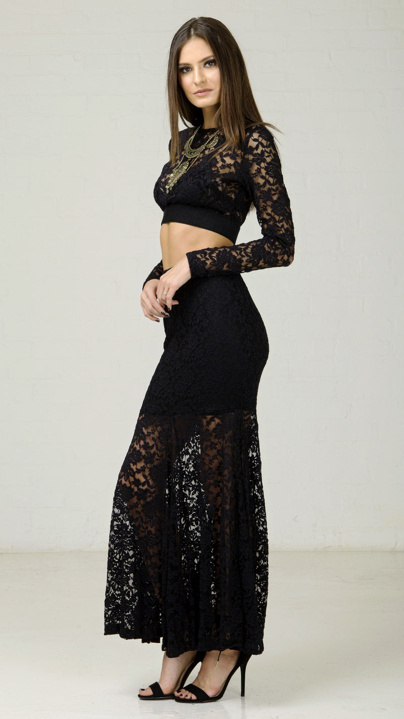 Lace Mermaid Long Sleeve Crop Top - Black