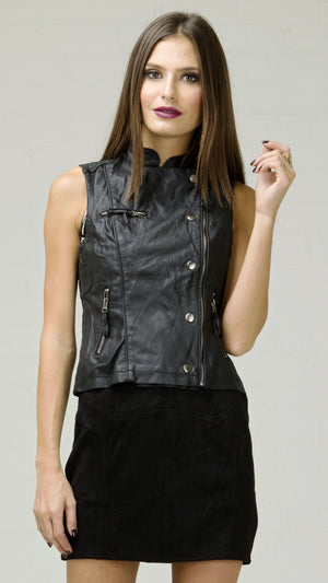 Crinkle Faux Leather Moto Vest