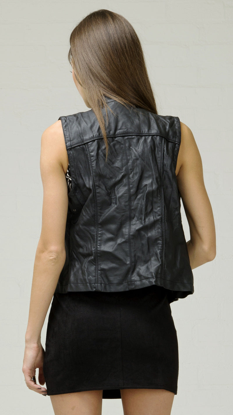 Crinkle Faux Leather Moto Vest - Msky