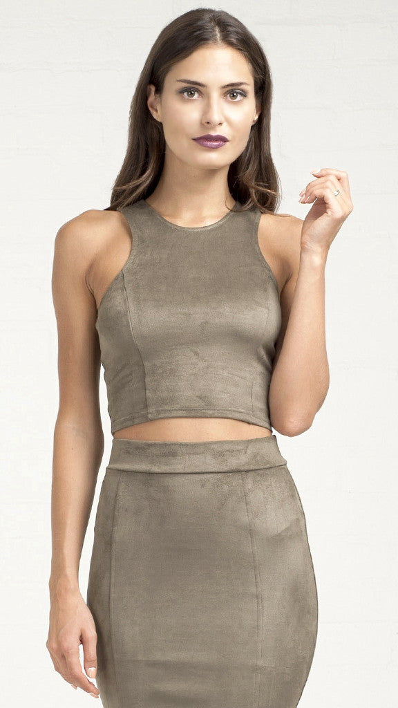 Soft Suede Crop Tank Top - Olive
