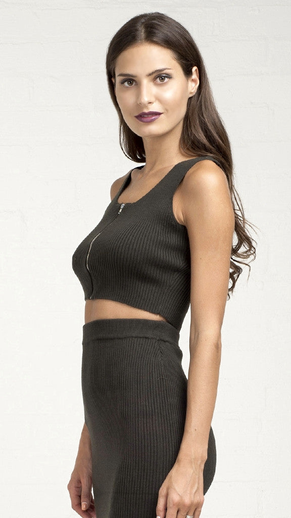 Ribbed Zip Up Knit Crop Tank Top - Olive
