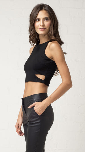 Asymmetrical Cut Out Crop Tank Top