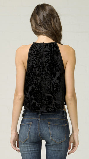 Velvet Burnout Flowy Crop Top