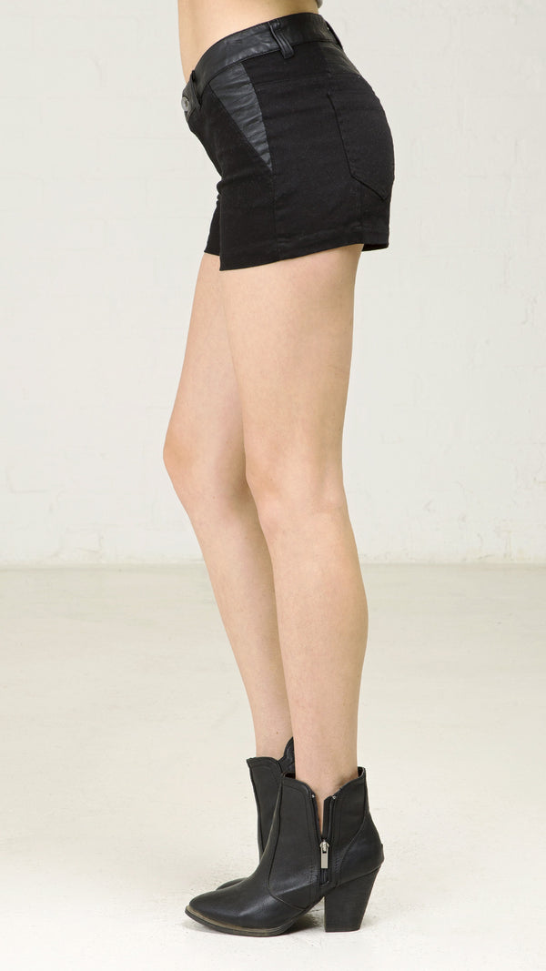 Quilted Pleather Patch Cotton Shorts