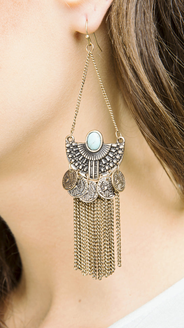 Coin Fringe Earrings - Msky