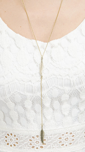 Mini Leaf Lariat Necklace