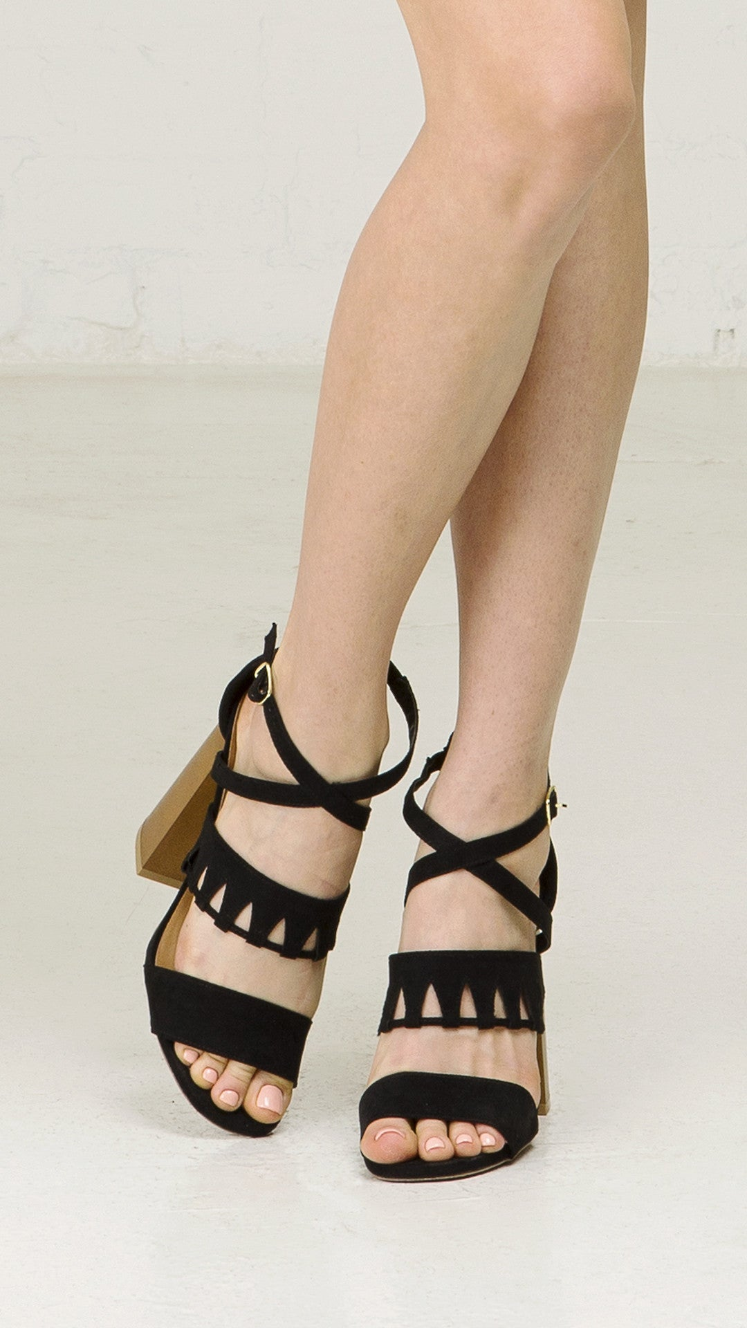 6680e253abd Cutout Strappy Sandal With Block Heel - ANGL