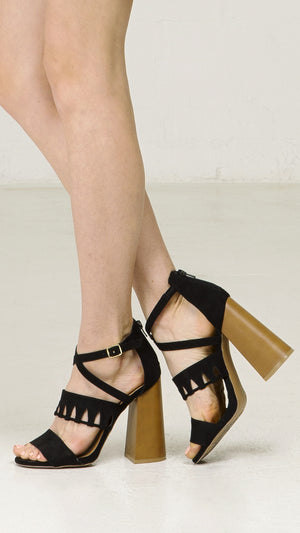 Cutout Strappy Sandal With Block Heel - ANGL