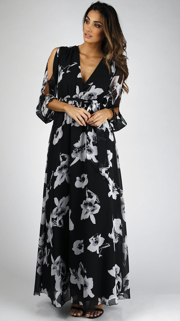 Floral Chiffon Long Sleeve Maxi Dress - Msky