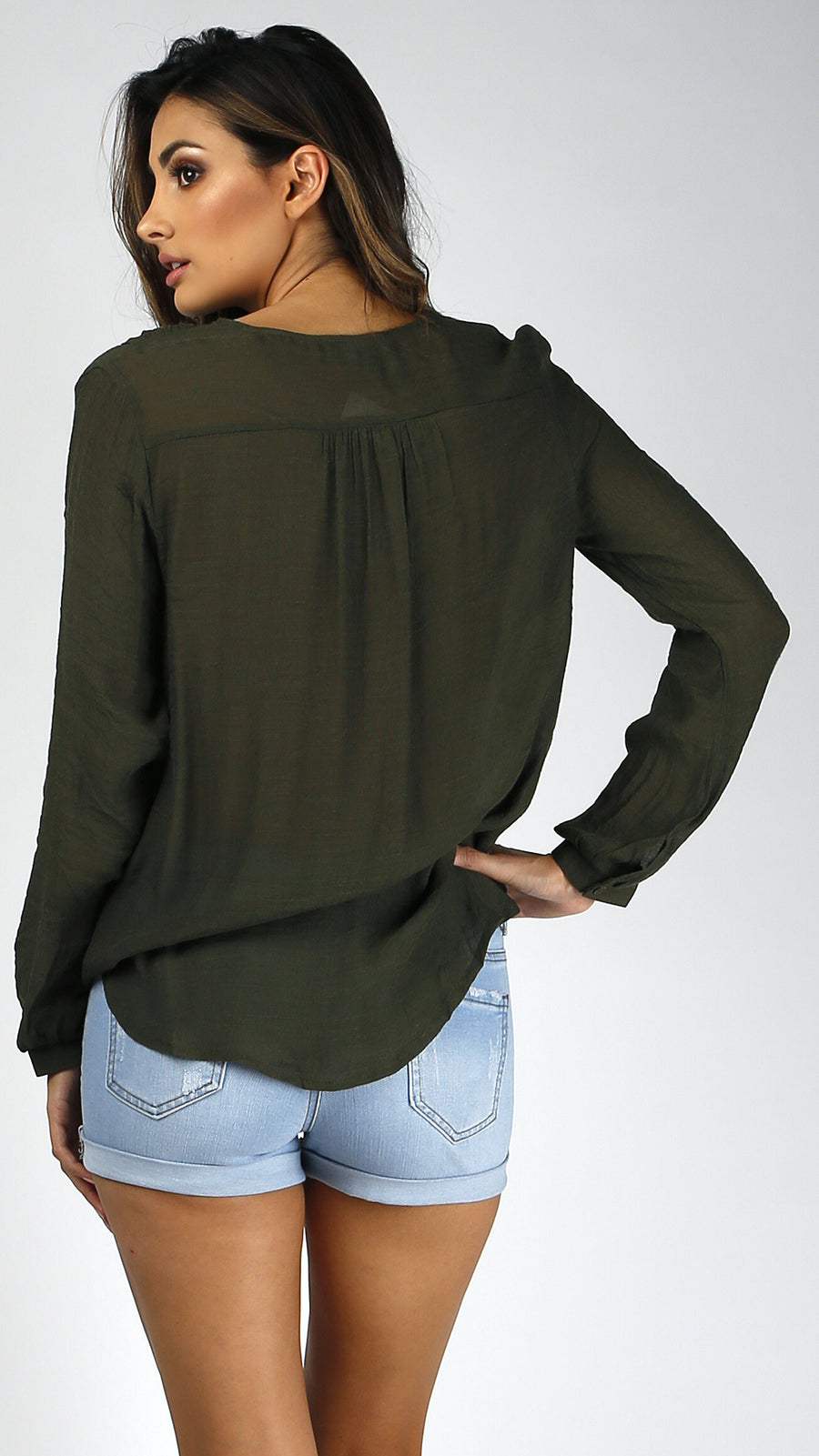 Lace Up Cross Front Blouse