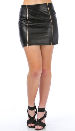 Two Way Double Zip Pleather Mini Skirt