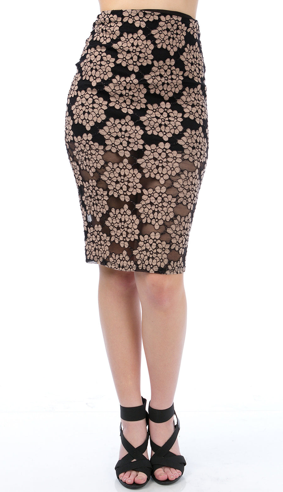 Spring Blossom Mesh Pencil Skirt