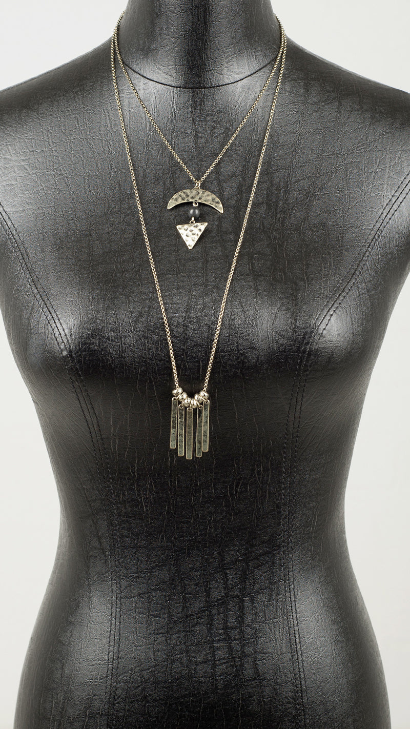 Double Tiered Hammered Fringe Necklace - Msky