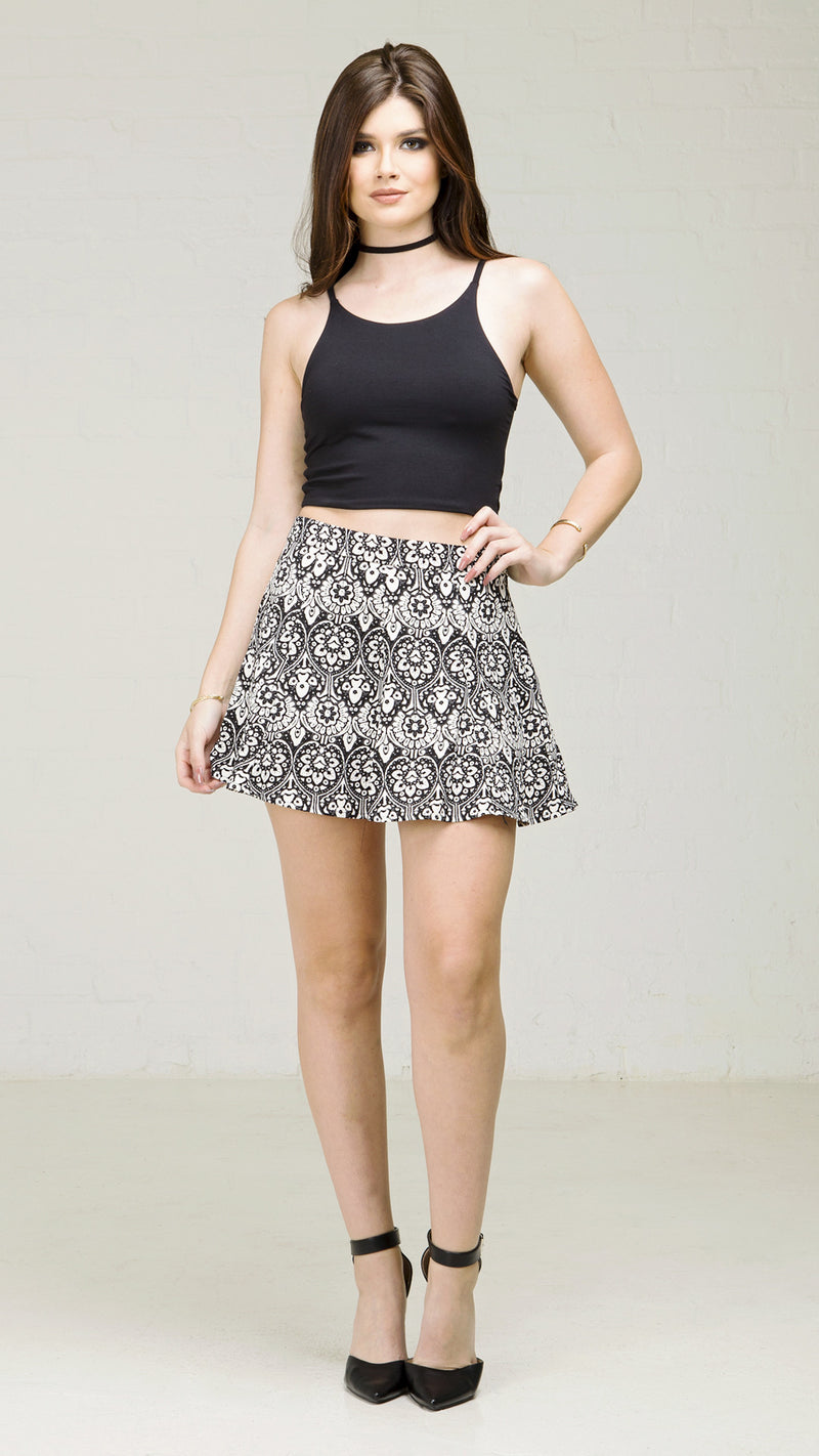 Black and White Floral Print Skater Skirt - Msky