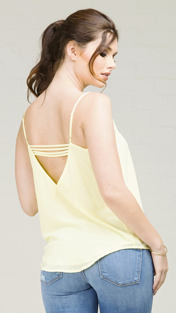 String Back Detail V-Neck Cami Top