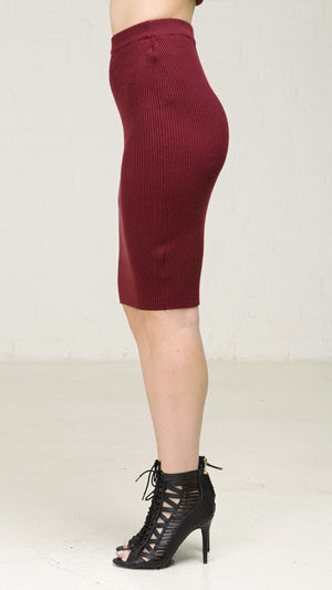 Ribbed Knit Simple Pencil Skirt