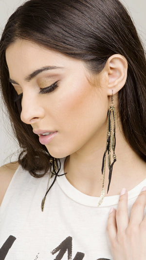 Suede & Leather Feather Earring