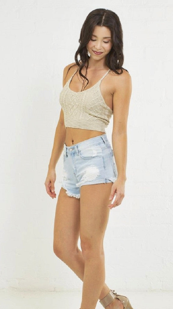 Detailed Knit Boho Crop Top - Msky