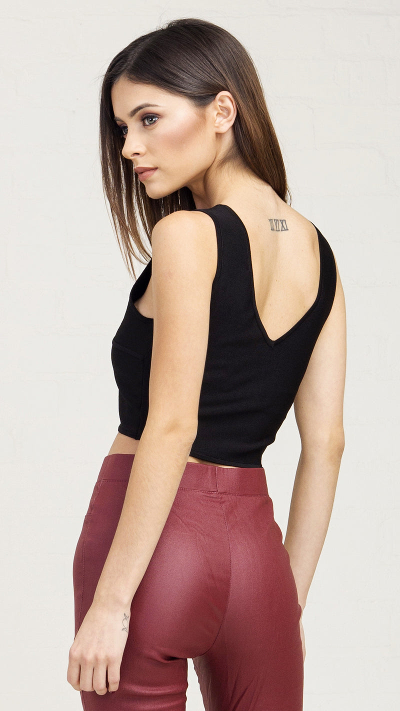 Criss Cross Cropped Tank - Black - Msky