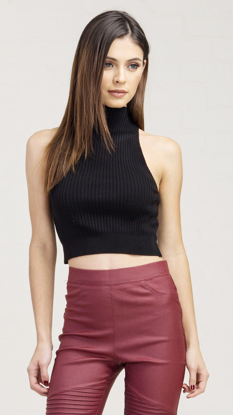 High Neck Ribbed Crop Tank Top