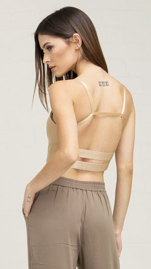 Faux Leather Sexy Crop Top - Tan