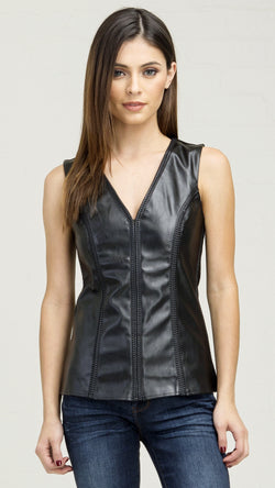 Braided Detail Pleather Front Tank - Msky