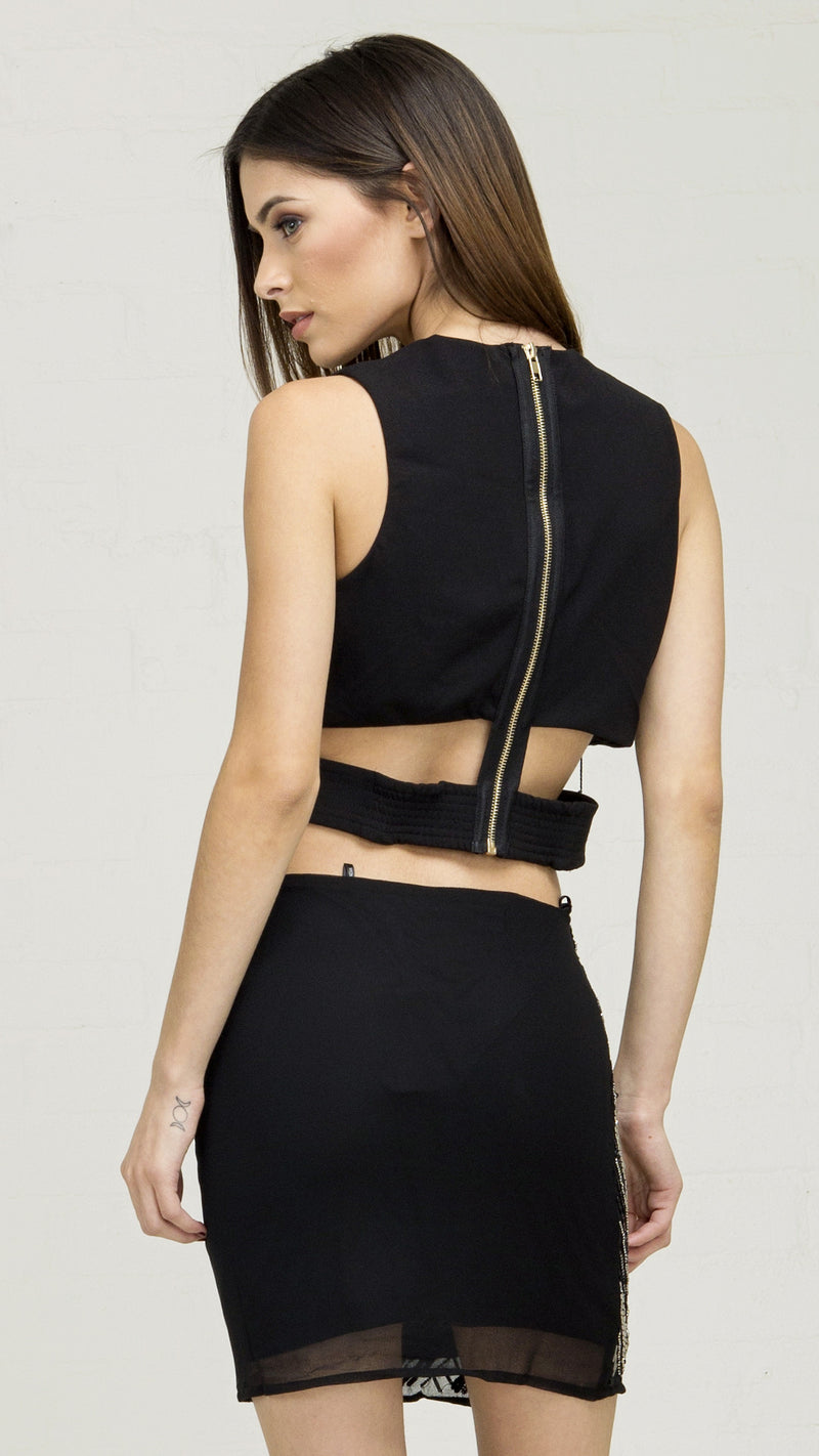 Dressy Cross Front Cutout Crop Top - Black - Msky