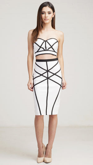 Multi Lined Bandage Crop Top
